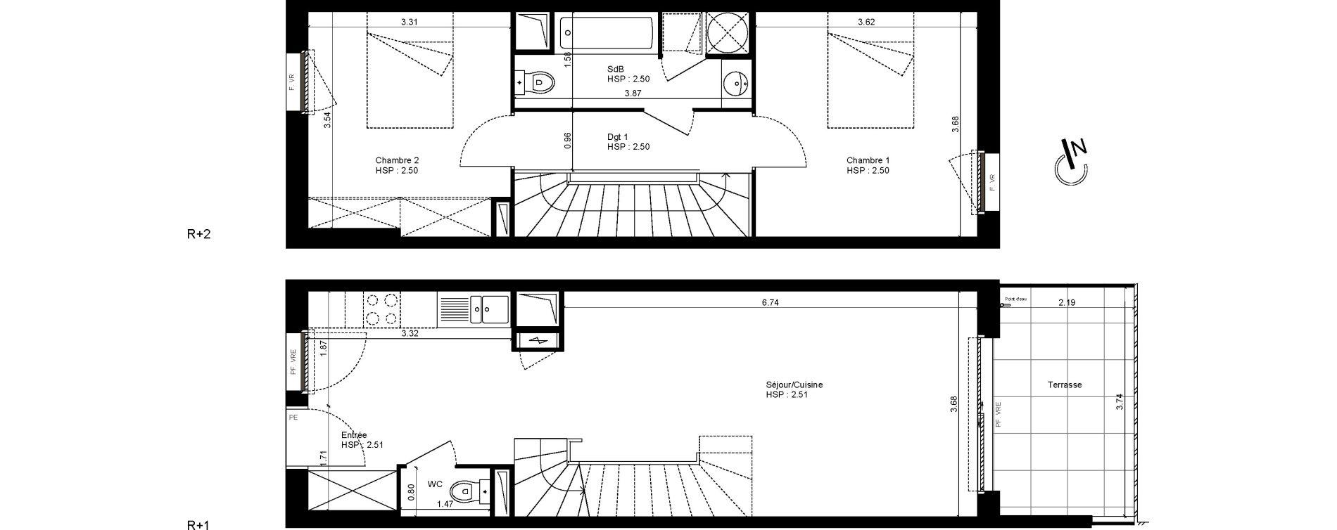 Duplex T3 de 70,53 m2 à Montpellier La restanque