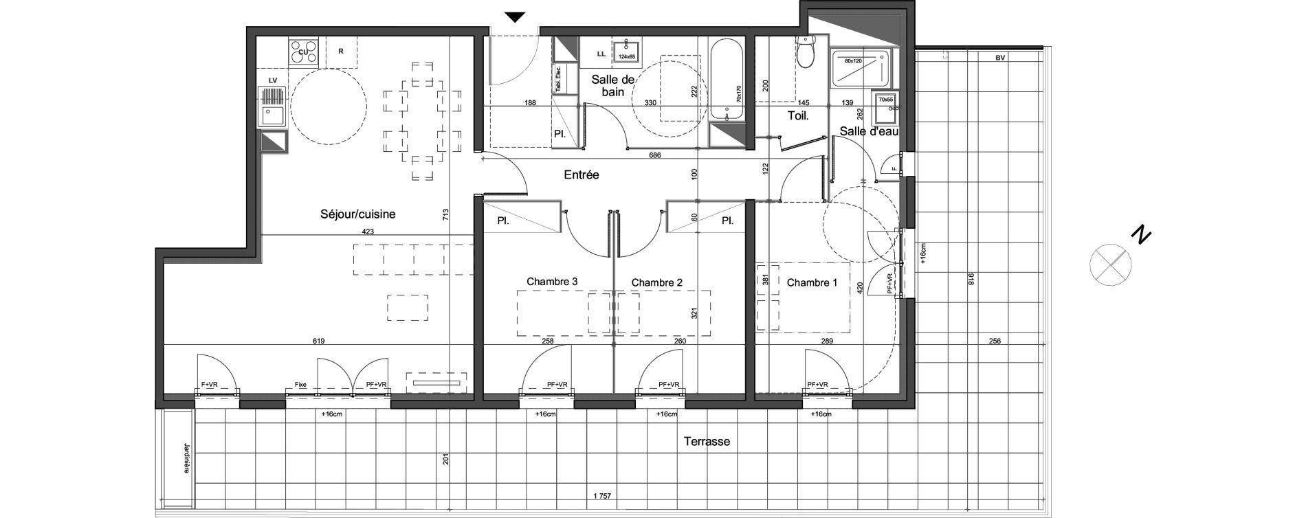Appartement T4 de 90,70 m2 à Montpellier Montpellier bagatelle