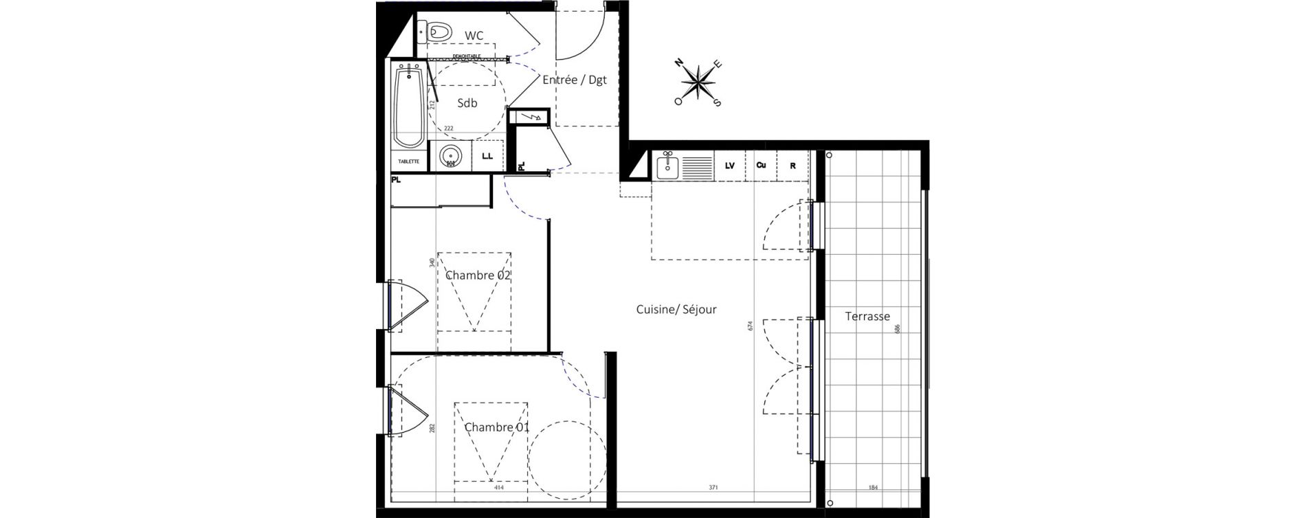 Appartement T3 de 63,50 m2 à Montpellier Montcalm
