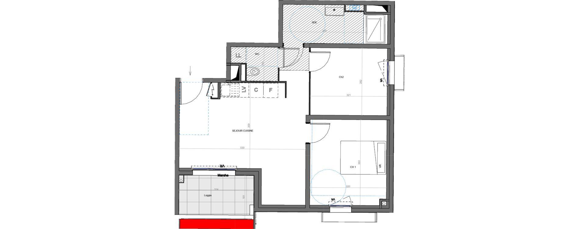 Appartement T3 de 52,70 m2 à Montpellier Les aiguerelles