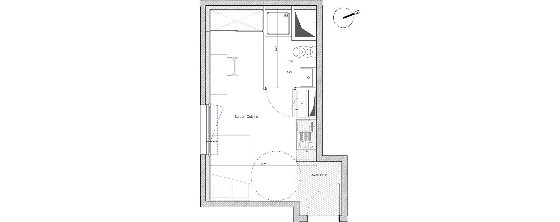 Appartement T1 meublé de 18,40 m2 à Montpellier Montpellier centre