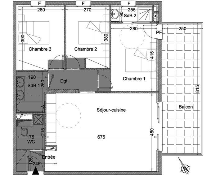 Appartement t4 montpellier n 307 sud est for Achat maison montpellier