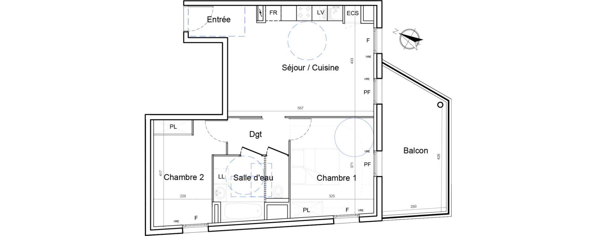 Appartement T3 de 58,18 m2 à Montpellier Lemasson