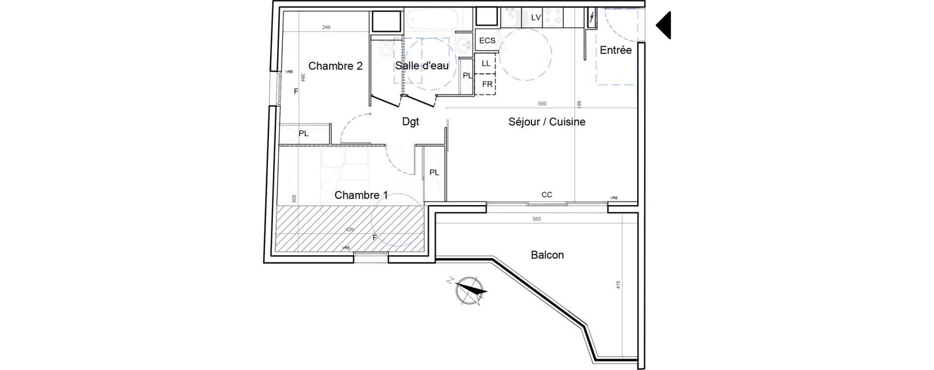Appartement T3 de 61,05 m2 à Montpellier Lemasson