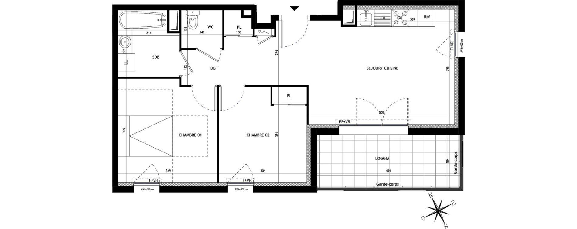 Appartement T3 de 55,90 m2 à Montpellier La restanque