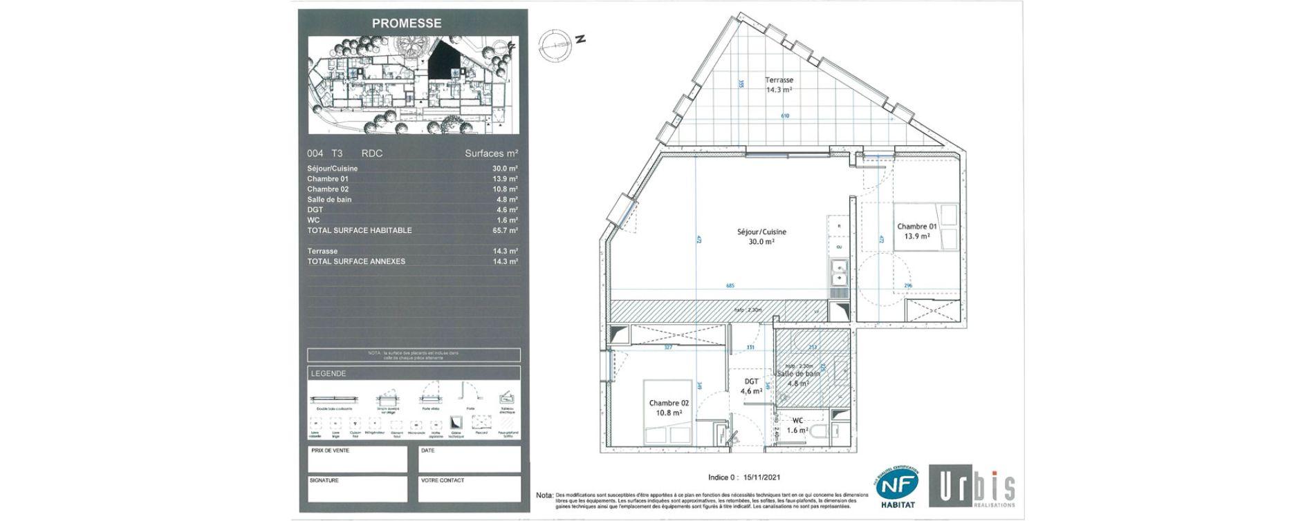 Appartement T3 de 65,70 m2 à Montpellier Boutonnet