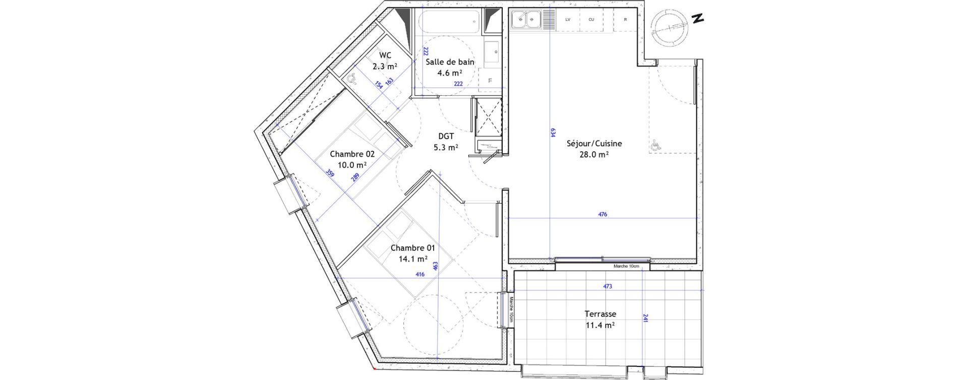 Appartement T3 de 64,30 m2 à Montpellier Boutonnet