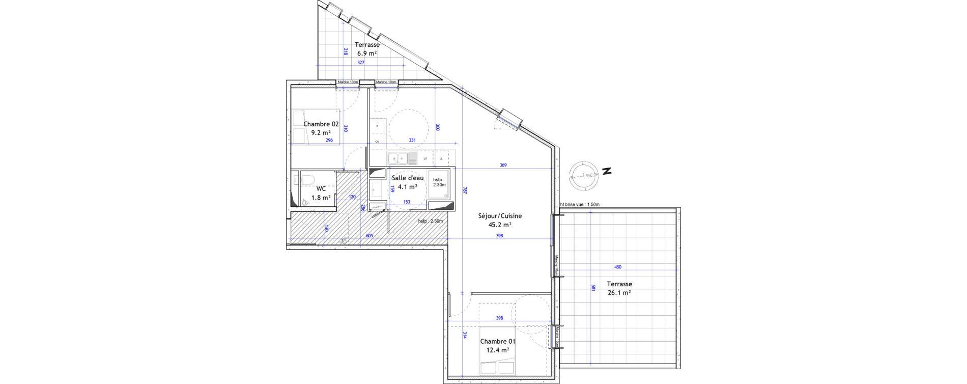 Appartement T3 de 72,70 m2 à Montpellier Boutonnet