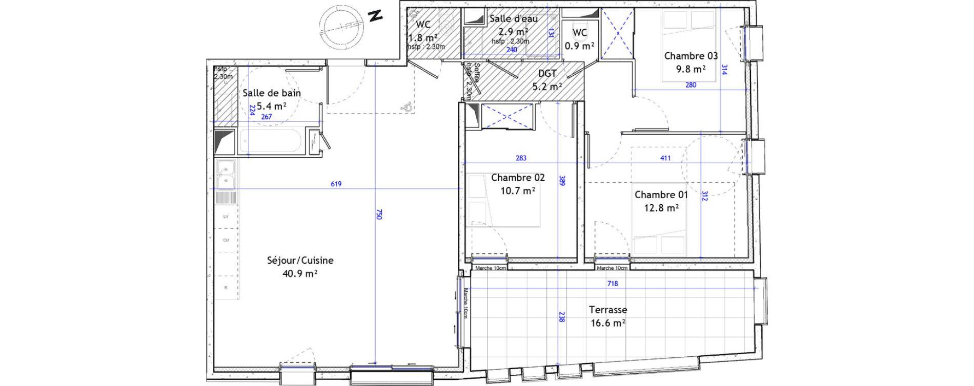 Appartement T4 de 90,40 m2 à Montpellier Boutonnet