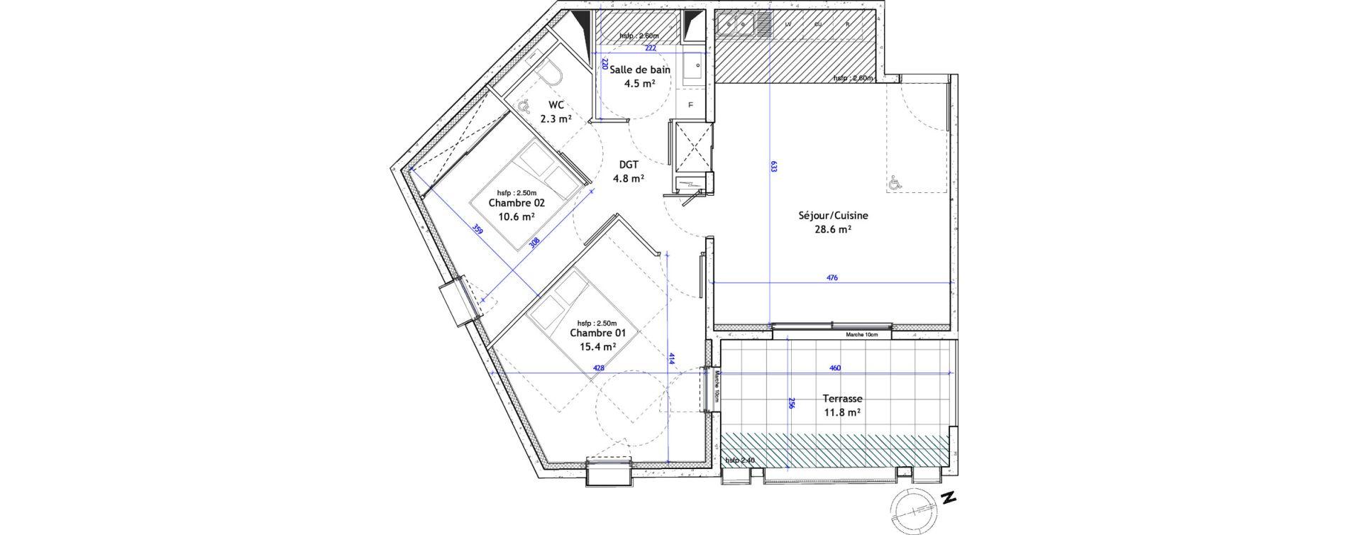 Appartement T3 de 66,20 m2 à Montpellier Boutonnet