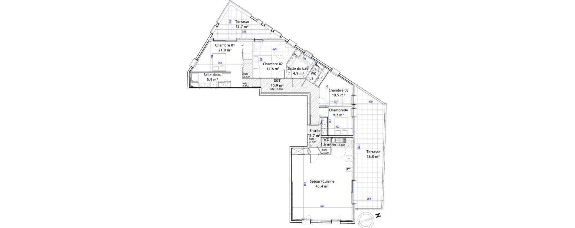 Appartement T5 de 129,30 m2 à Montpellier Boutonnet