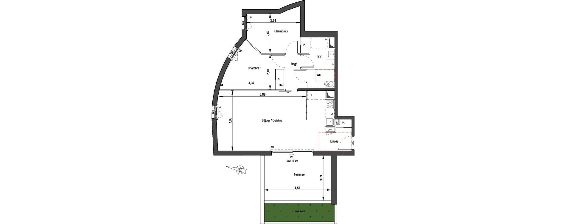 Appartement T3 de 63,30 m2 à Montpellier La pompignane