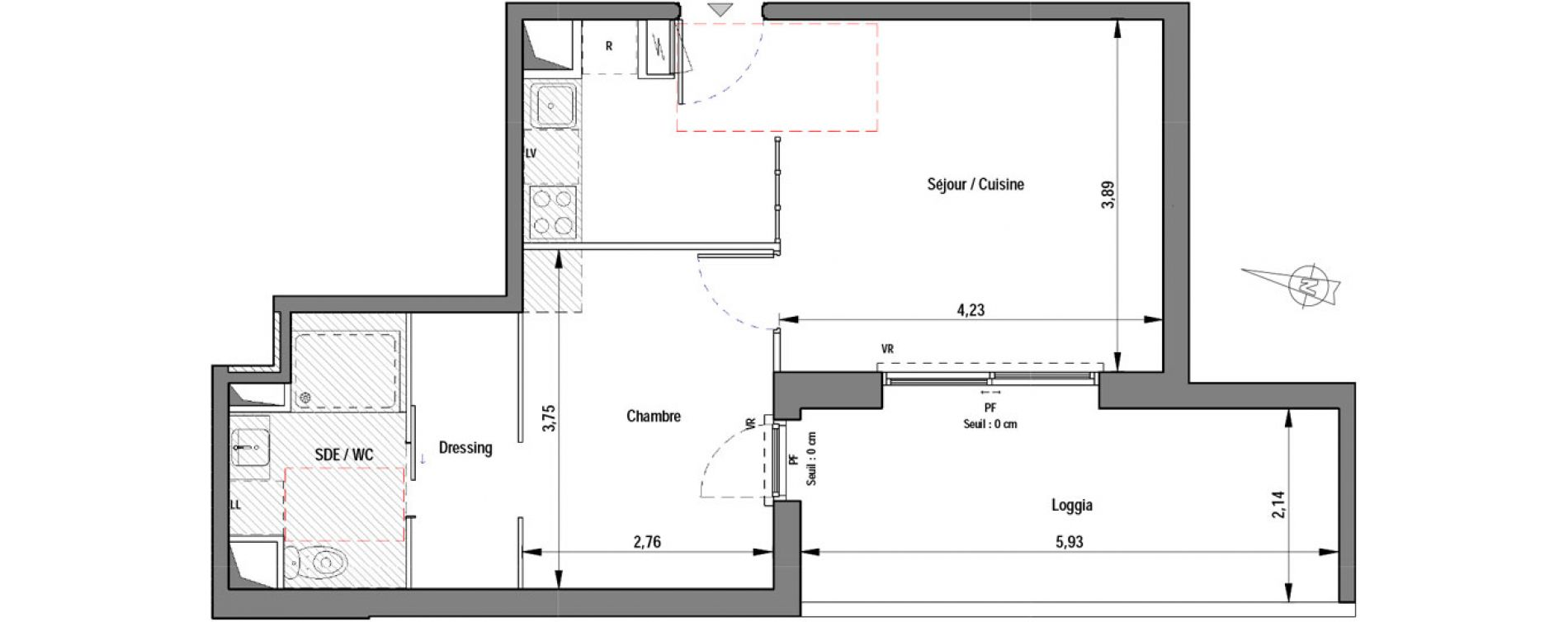 Appartement T2 de 41,20 m2 à Montpellier La pompignane