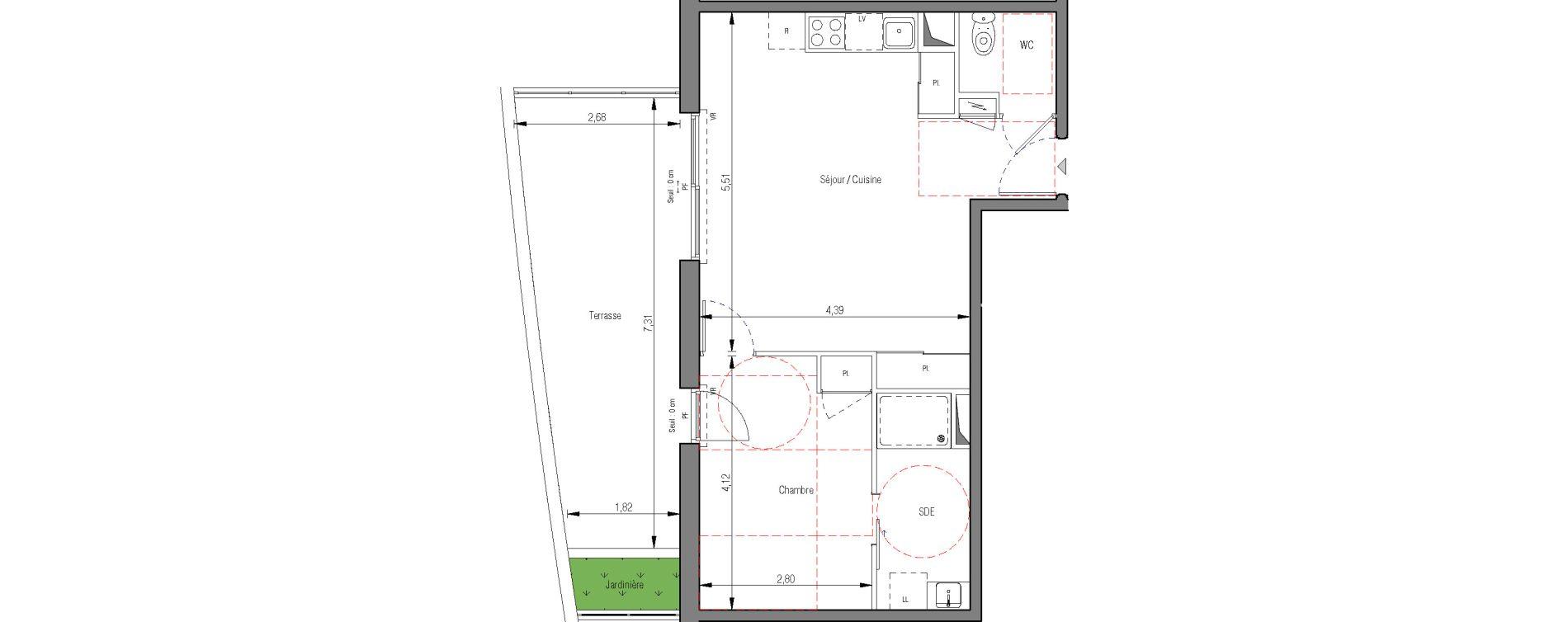 Appartement T2 de 44,70 m2 à Montpellier La pompignane