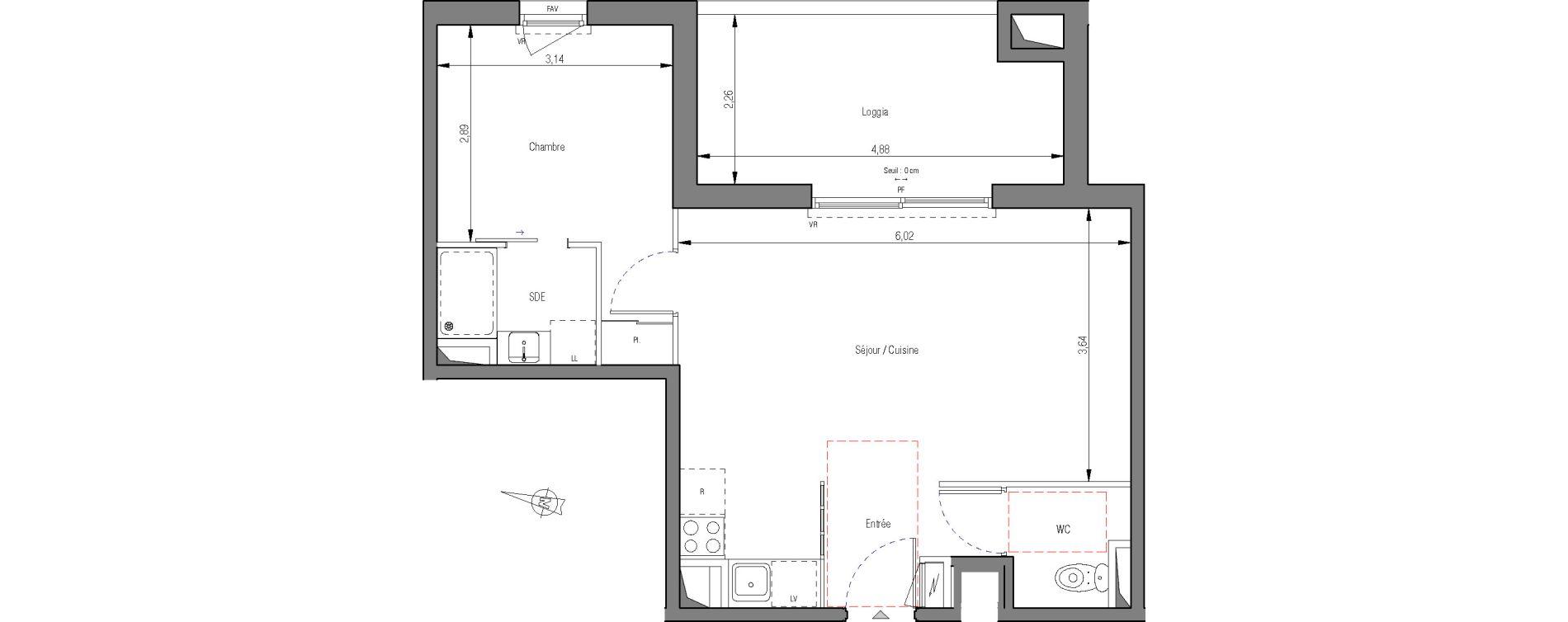 Appartement T2 de 43,60 m2 à Montpellier La pompignane