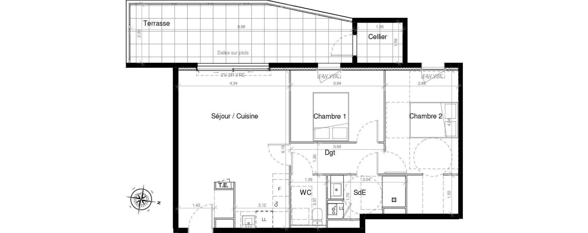 Appartement T3 de 62,50 m2 à Pignan Centre