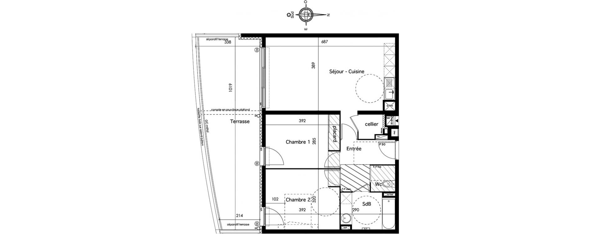 plan appartement 66 m2