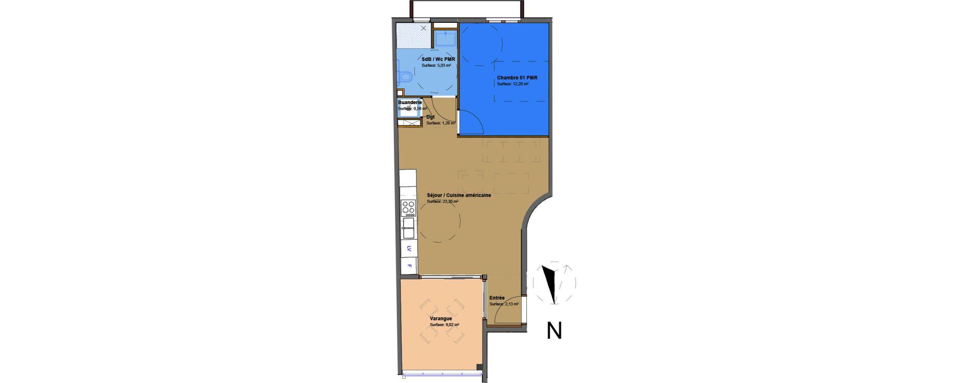 Appartement T2 de 44,56 m2 à Saint-Denis Saint denis, re