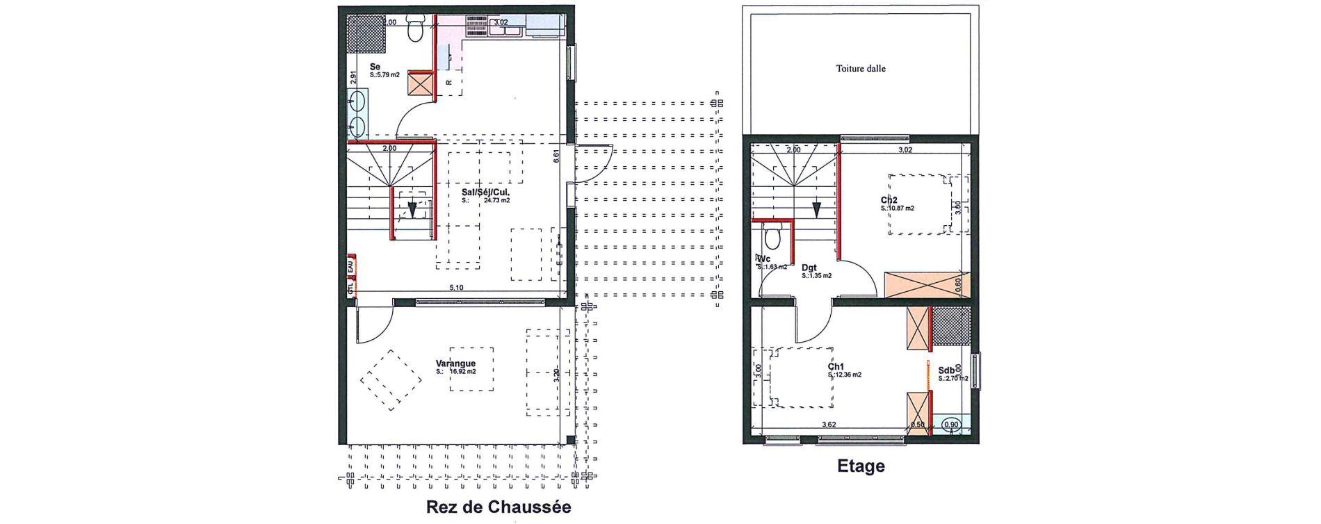 Villa T3 de 59,43 m2 à Saint-Pierre Bassin martin