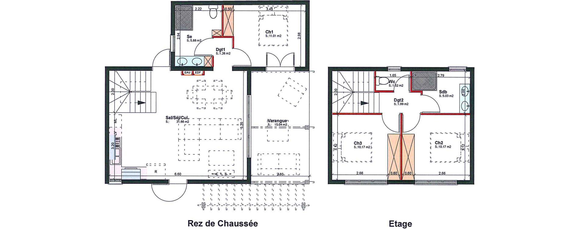 Villa T4 de 78,69 m2 à Saint-Pierre Bassin martin