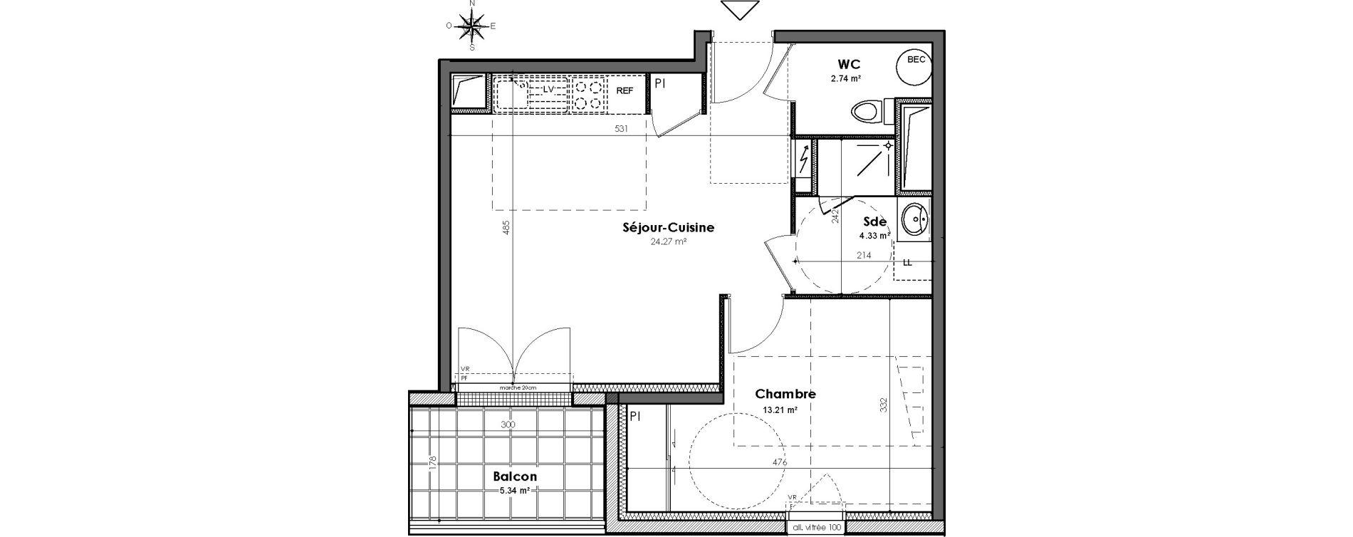 Appartement T2 de 44,55 m2 à Bouguenais Centre
