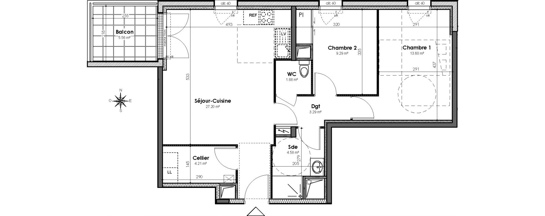 Appartement T3 de 64,05 m2 à Bouguenais Centre