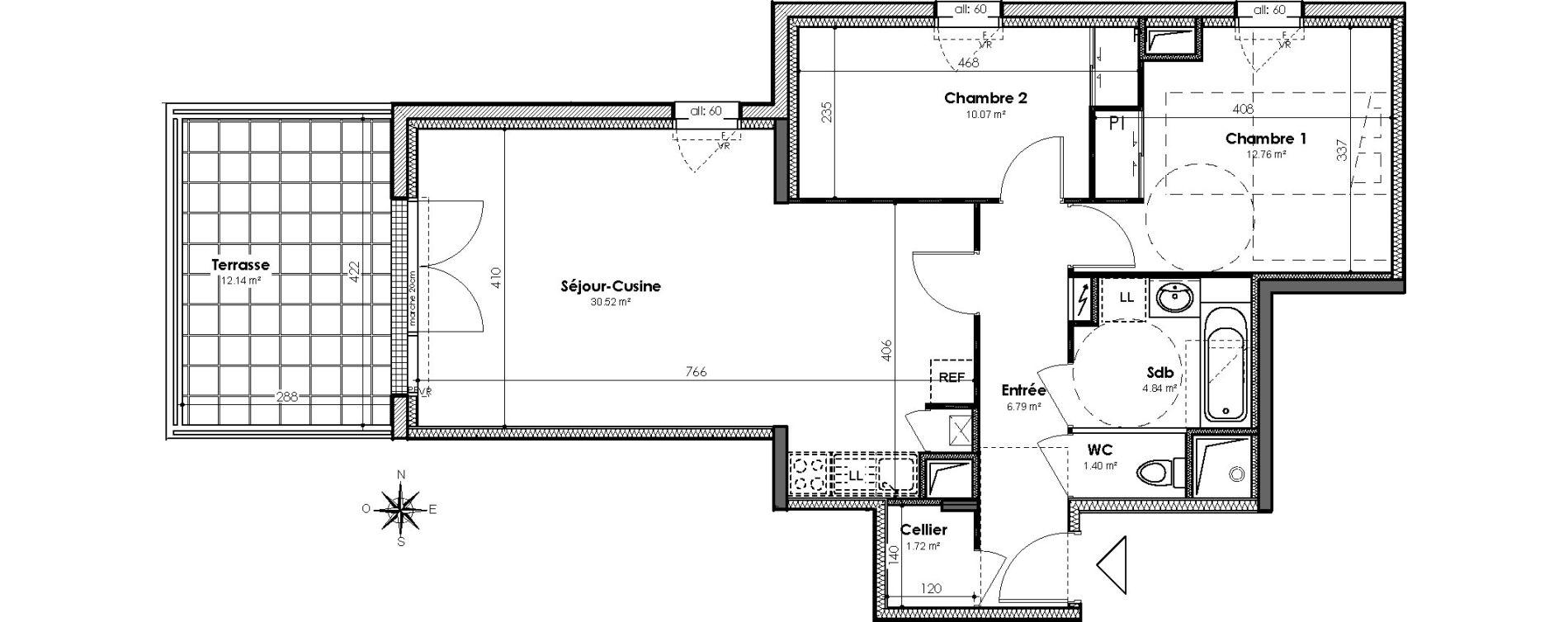 Appartement T3 de 68,22 m2 à Bouguenais Centre