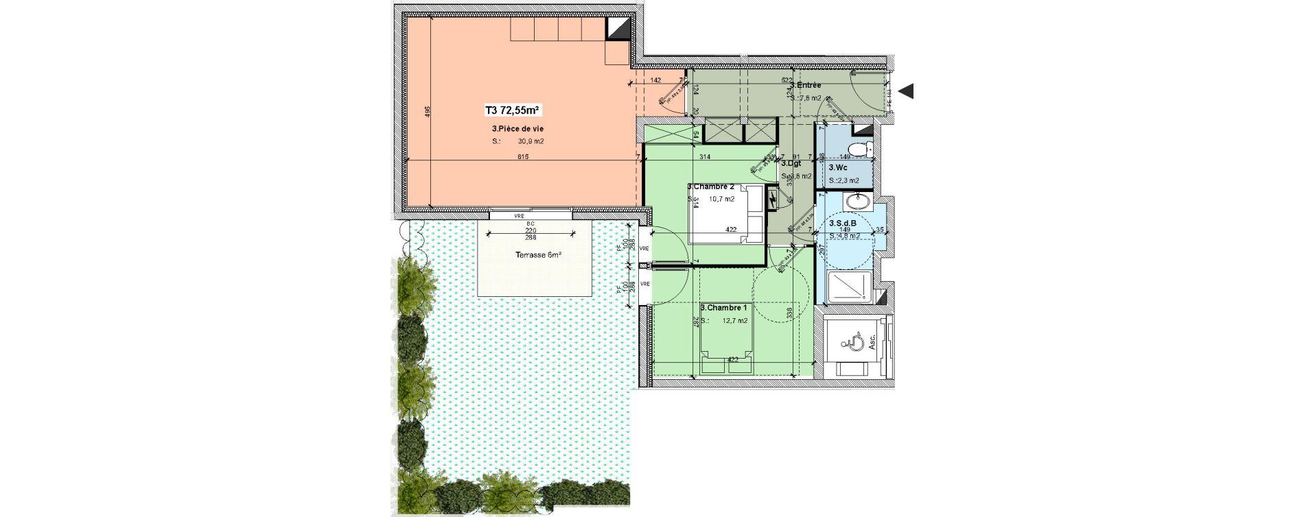 Appartement T3 de 72.55m2 RDC S Villa Bois d\'Amour La Baule ...