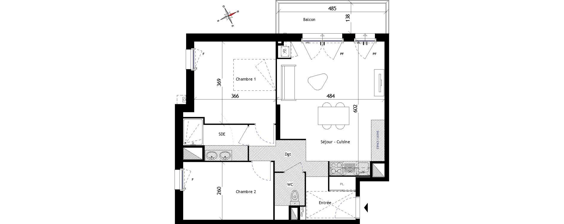 Appartement T3 de 65,20 m2 aux Sorinières Centre