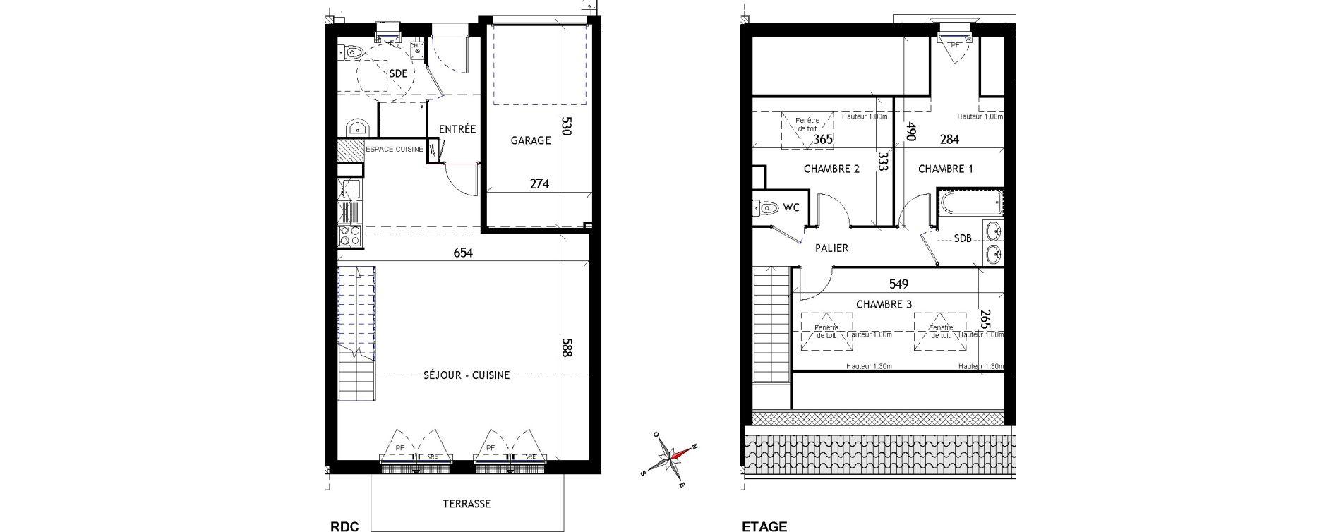 Maison T4 de 91,12 m2 aux Sorinières Centre