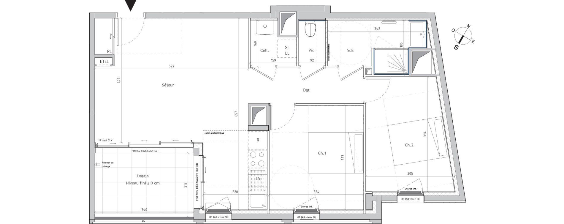 Appartement T3 de 63,54 m2 à Nantes Graslin