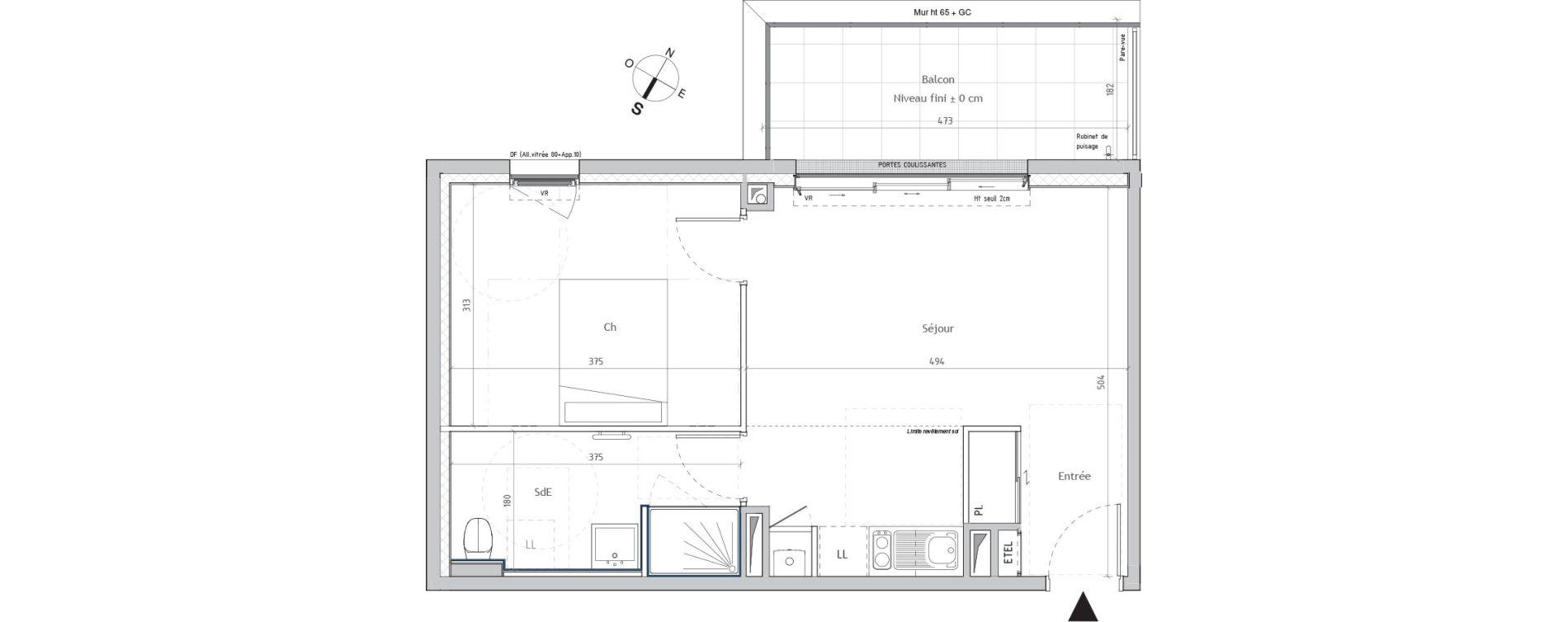 Appartement T2 de 42,21 m2 à Nantes Graslin
