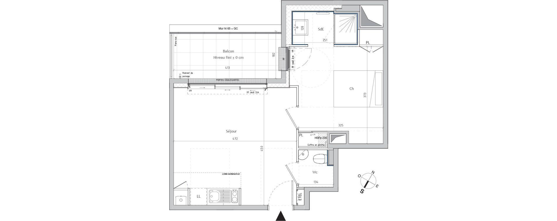 Appartement T2 de 39,02 m2 à Nantes Graslin