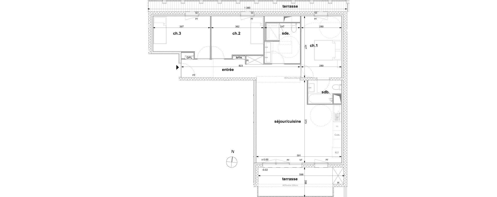 Appartement T4 de 82,00 m2 à Nantes Nantes république