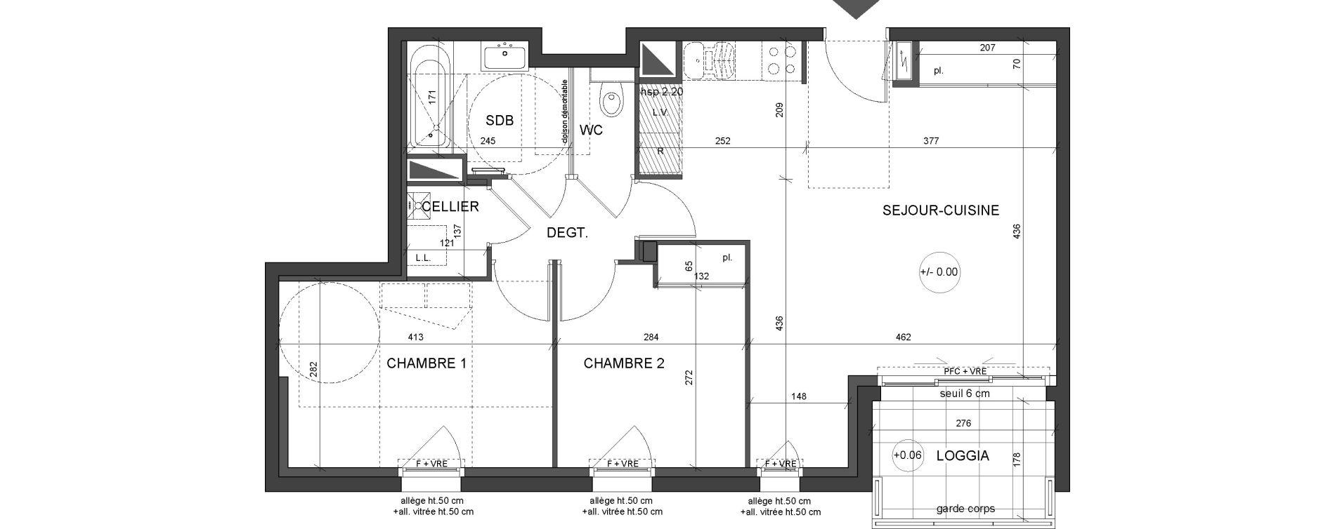 Appartement T3 de 60,45 m2 à Nantes Canclaux