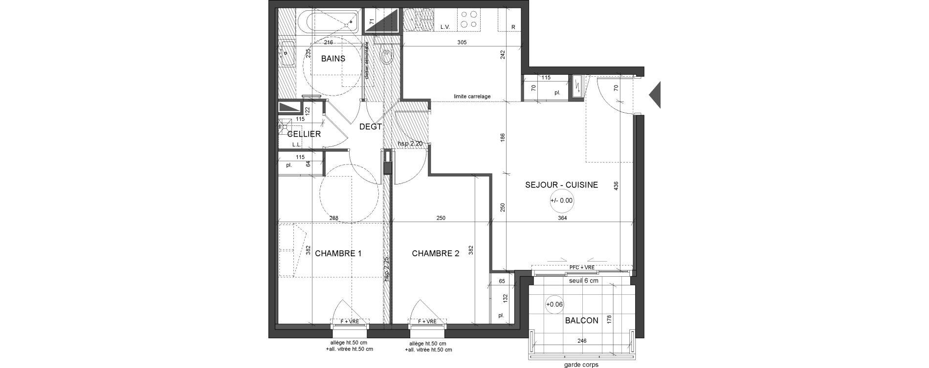 Appartement T3 de 62,30 m2 à Nantes Canclaux