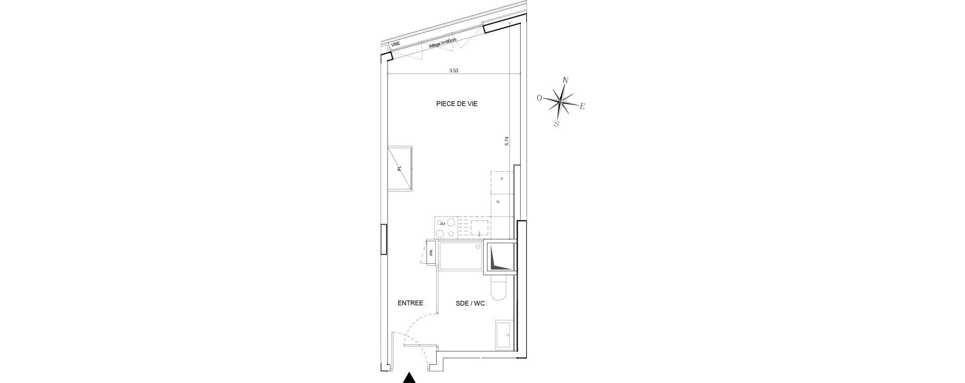 Appartement T1 de 27,51 m2 à Nantes Euronantes