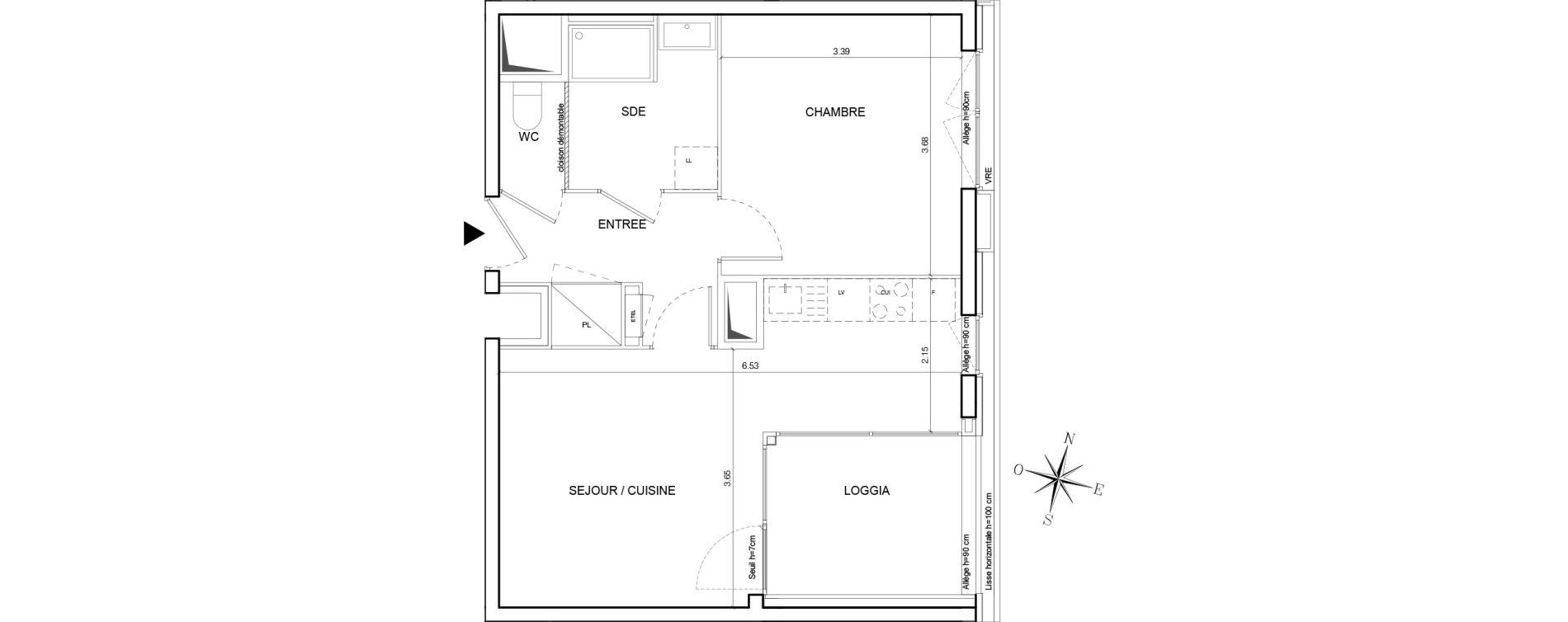 Appartement T2 de 44,00 m2 à Nantes Euronantes