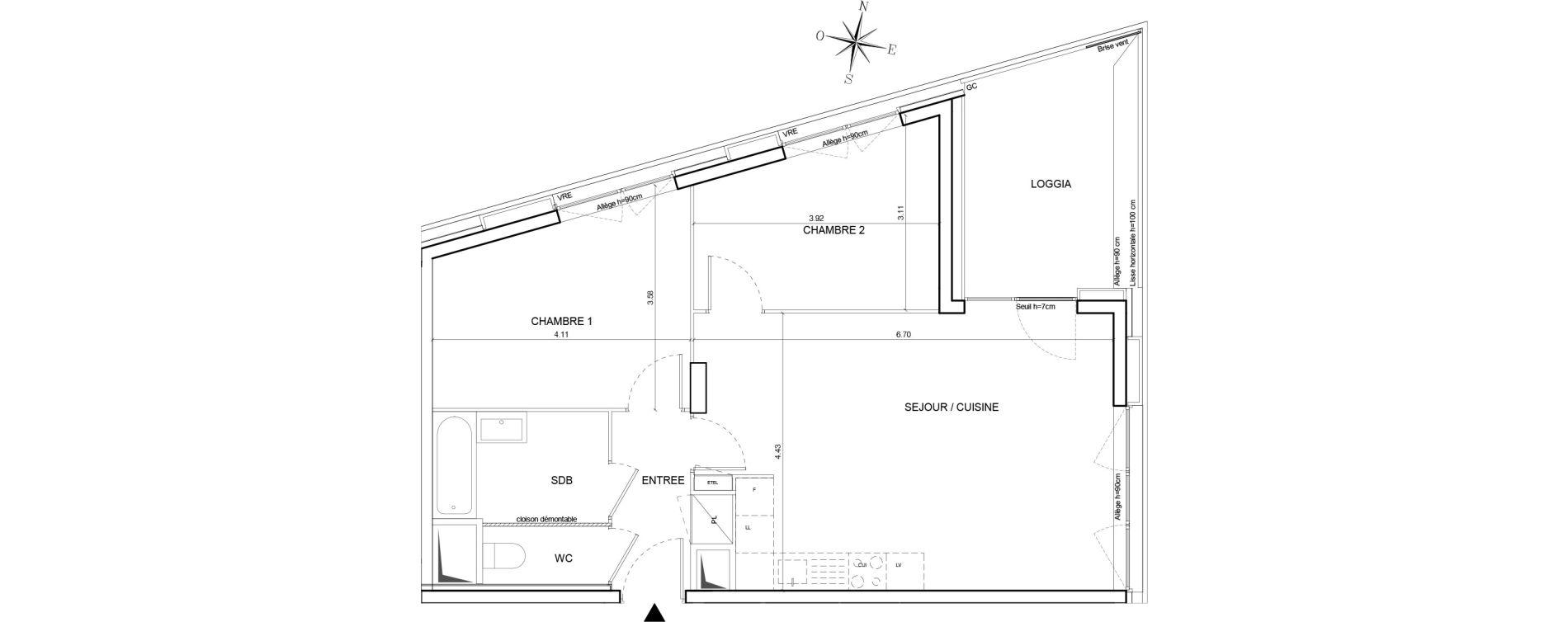 Appartement T3 de 61,56 m2 à Nantes Euronantes
