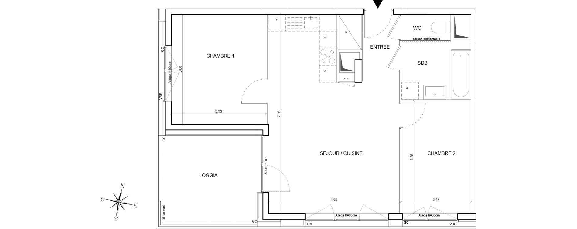 Appartement T3 de 60,64 m2 à Nantes Euronantes