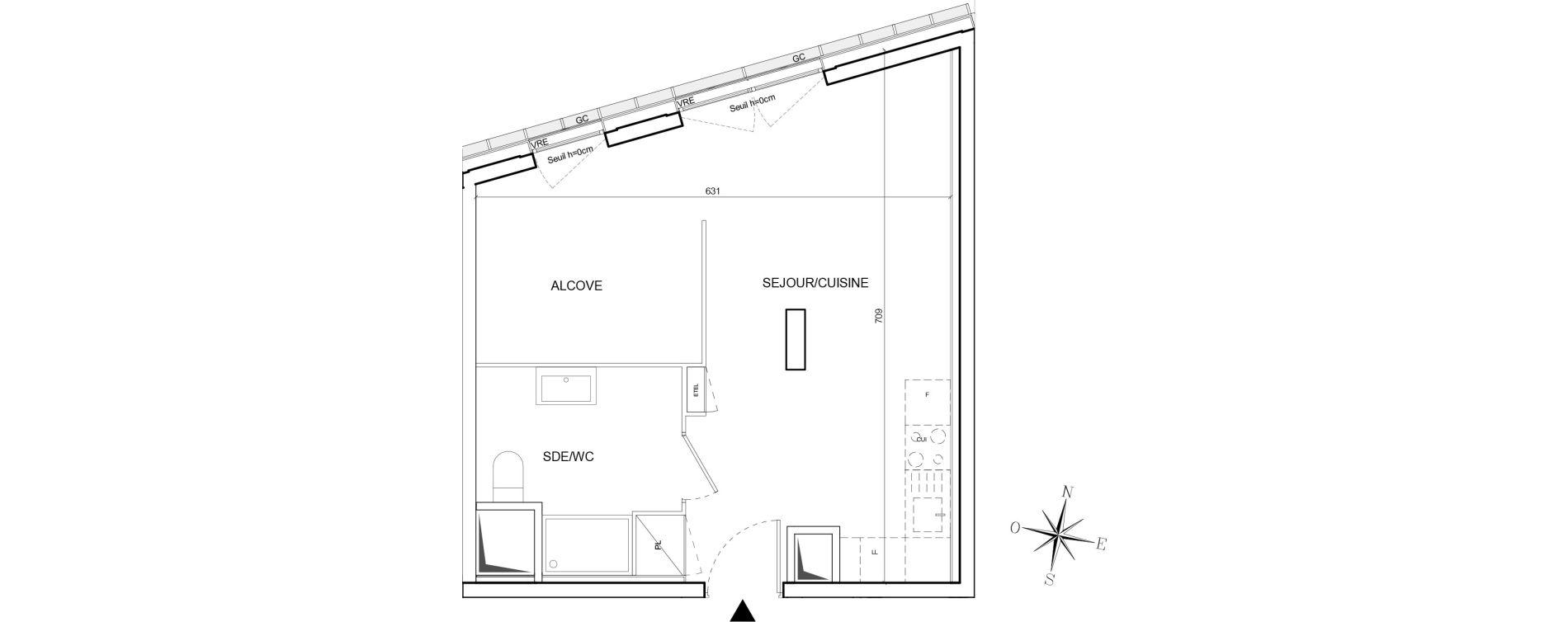 Appartement T1 de 36,80 m2 à Nantes Euronantes