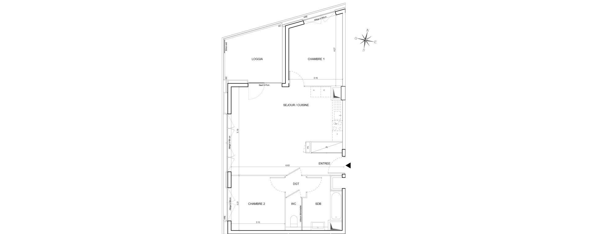 Appartement T3 de 64,42 m2 à Nantes Euronantes