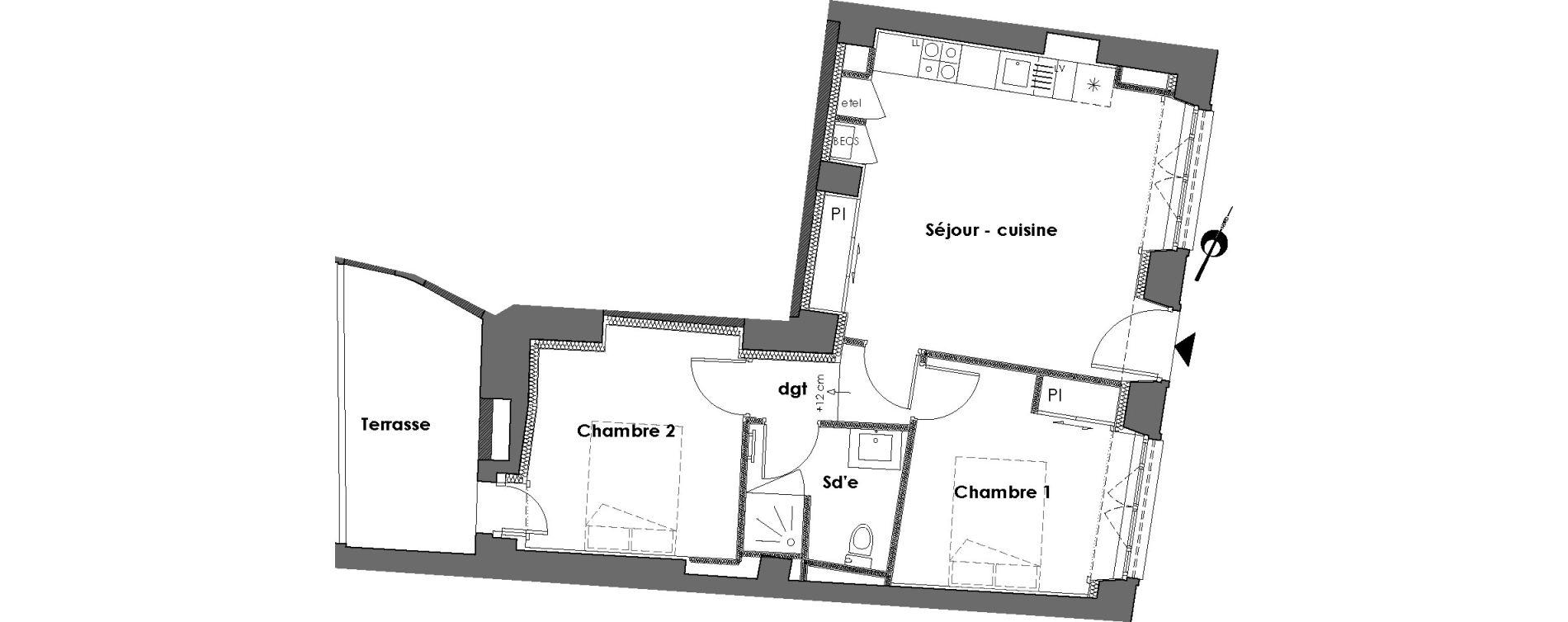 Appartement T3 de 50,24 m2 à Nantes Dobree
