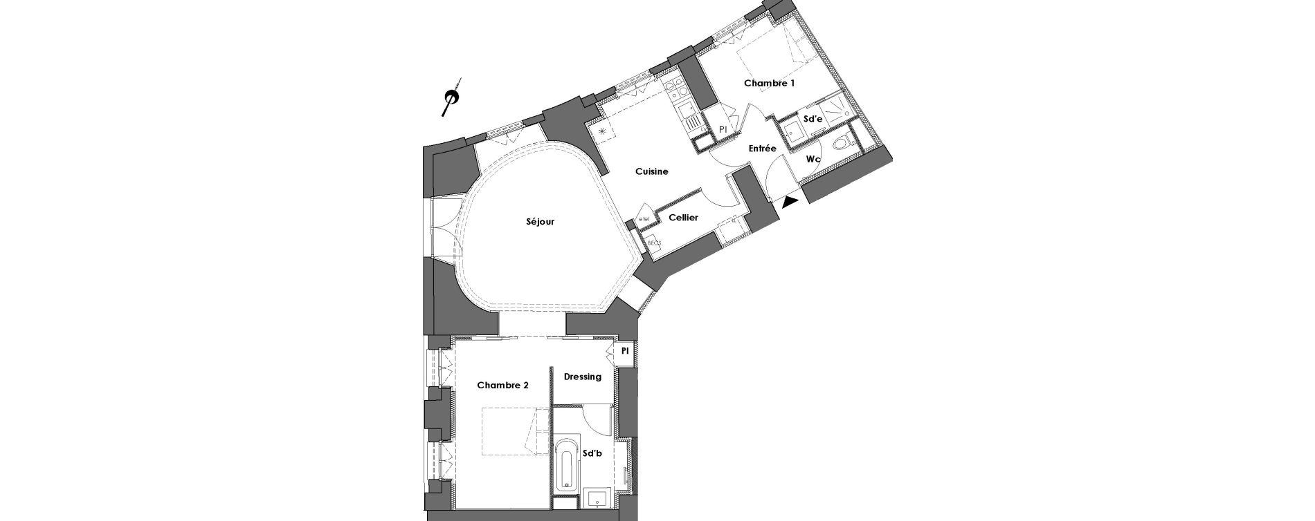Appartement T3 de 75,36 m2 à Nantes Dobree