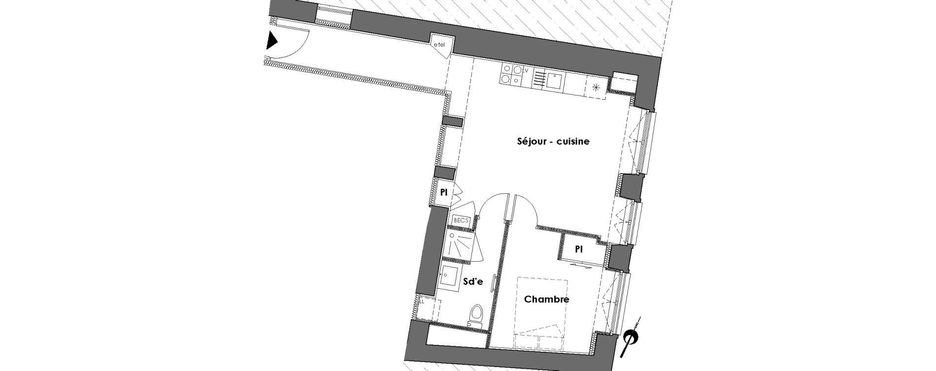 Appartement T2 de 41,48 m2 à Nantes Dobree