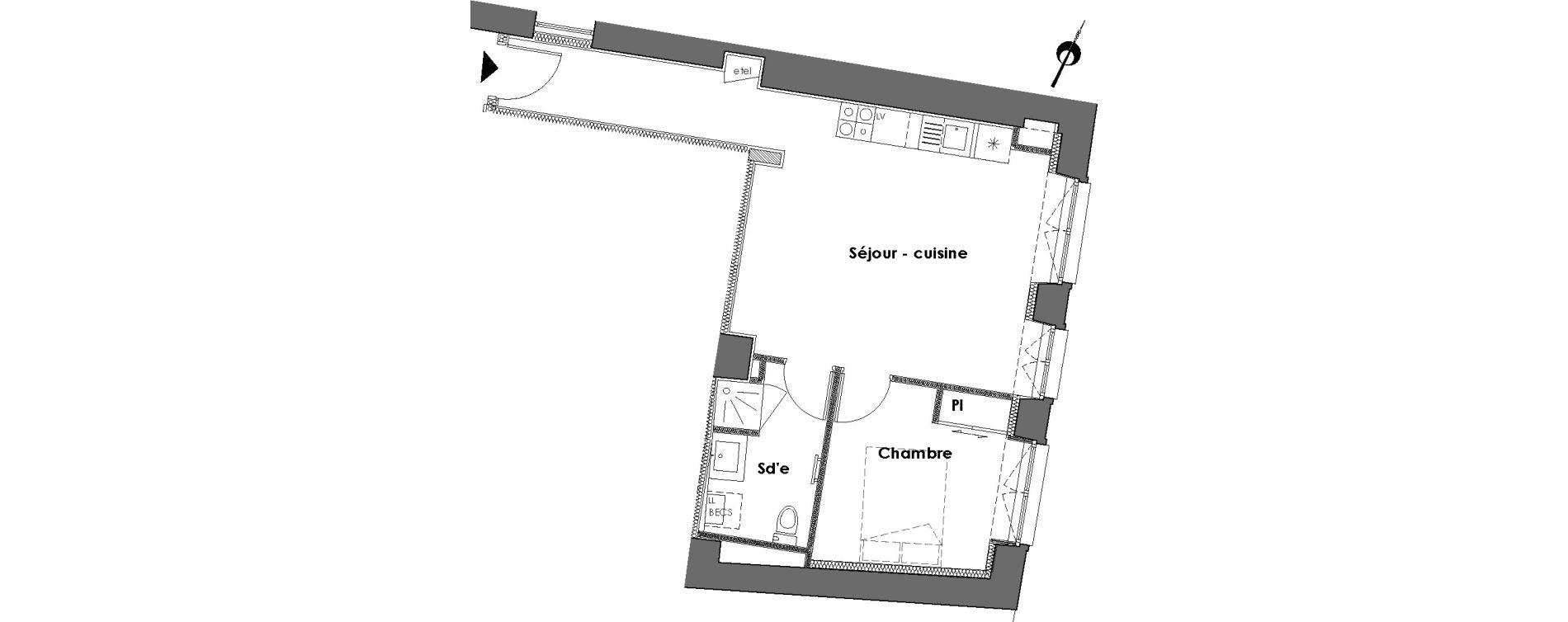 Appartement T2 de 42,10 m2 à Nantes Dobree