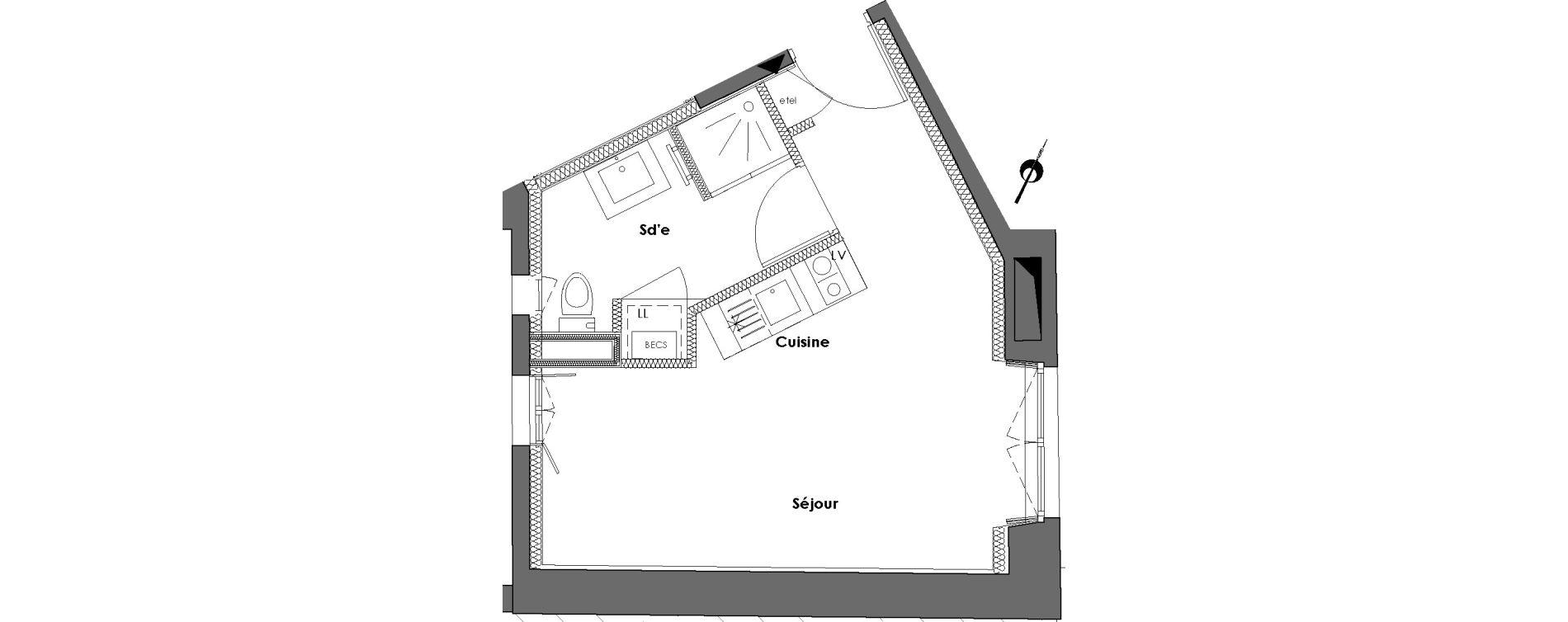 Appartement T1 de 24,42 m2 à Nantes Dobree