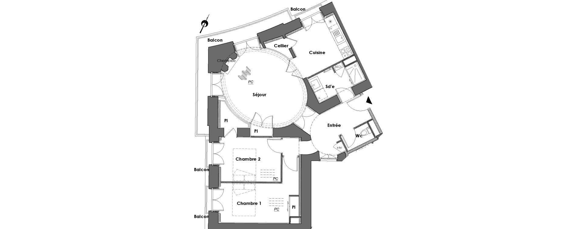 Appartement T3 de 69,13 m2 à Nantes Dobree