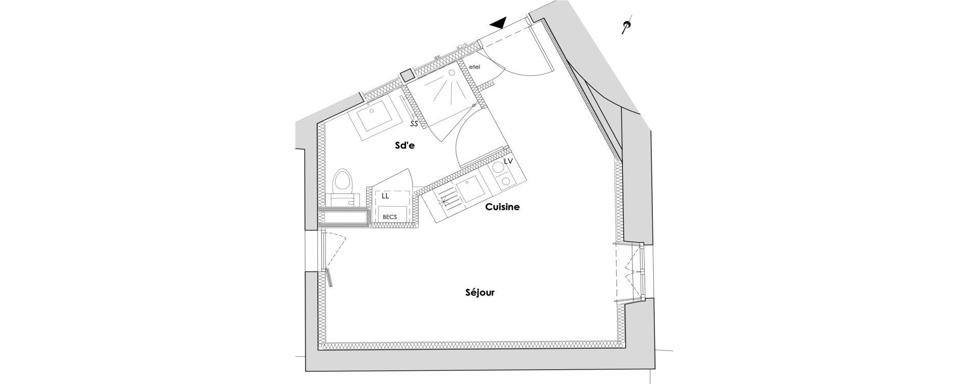 Appartement T1 de 24,65 m2 à Nantes Dobree