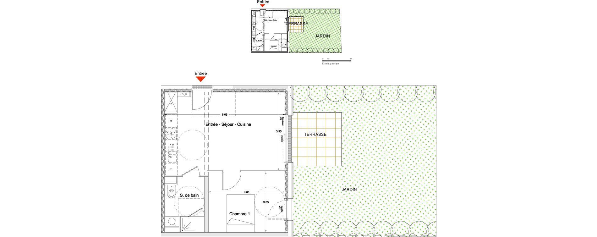 Appartement Avec Jardin Nantes appartement t2 de 40.90m2 rdc e nuances de l'erdre nantes